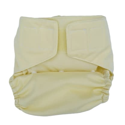 Pocket Nappy in soft yellow, snaps set to small size