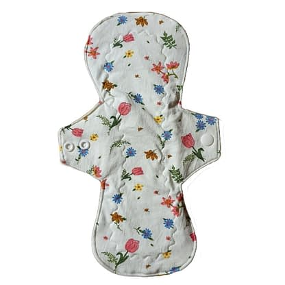 Organic cotton reusable sanitary pad - Tulips